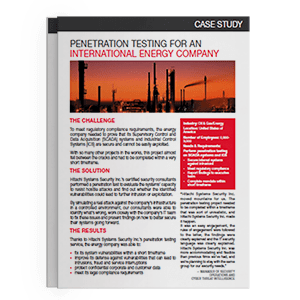 Hitachi Systems Security - Case Study Penetration Testing for Energy Company