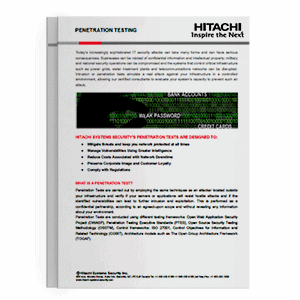 Hitachi Systems Security - Penetration Testing Brochure